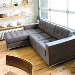 Jane Loft Bi-Sectional // Stainless Steel Base (Bayview Silver)
