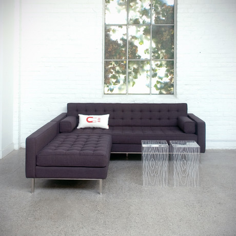 Spencer Loft Bi-Sectional // Stainless Steel Base (Parliament Moss)