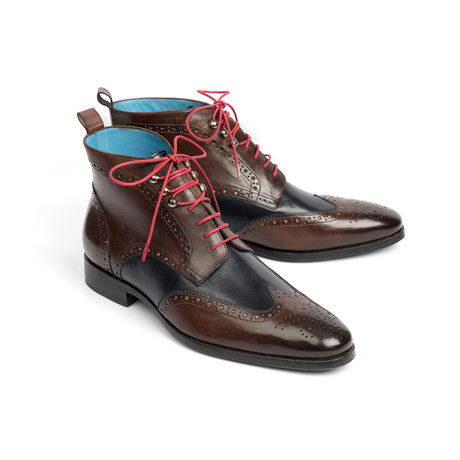 Wingtip Ankle Boots // Brown + Blue (Euro: 37)