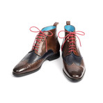 Wingtip Ankle Boots // Brown + Blue (Euro: 44)