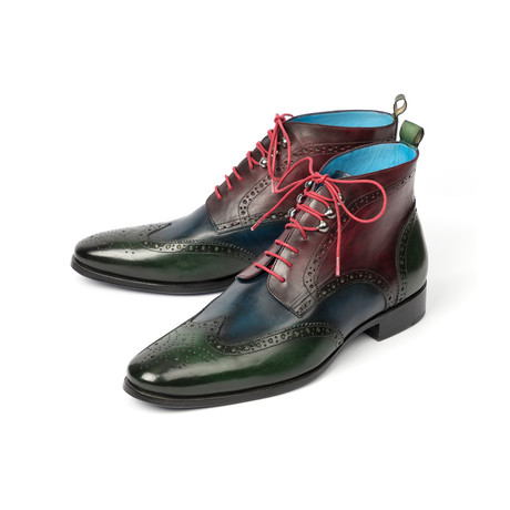 Wingtip Ankle Boots // Green + Blue + Bordeaux (Euro: 37)