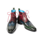 Wingtip Ankle Boots // Green + Blue + Bordeaux (Euro: 45)