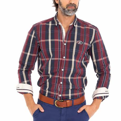 Frog Woven Button-Up Shirt // Bordeaux + Black (S)