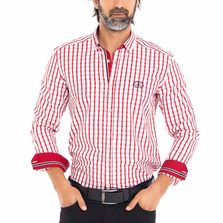 Frog Woven Button-Up Shirt // Red + White (S)