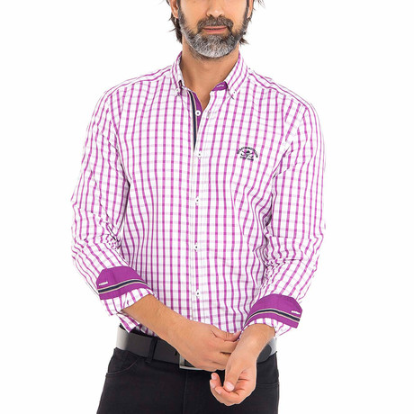 Frog Woven Button-Up Shirt // Pink + White (S)