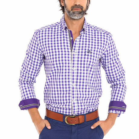Frog Woven Button-Up Shirt // Purple + White (S)