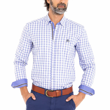 Frog Woven Button-Up Shirt // Blue + White (S)