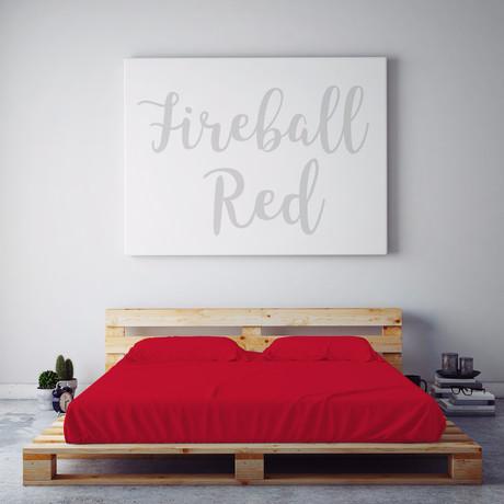 Moisture-Wicking 1500-Thread-Count-Soft Sheet Set // Fireball Red (Full)
