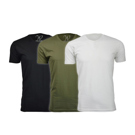 Ultra Soft Suede Crew-Neck // Black + Military Green + White // Pack of 3 (S)