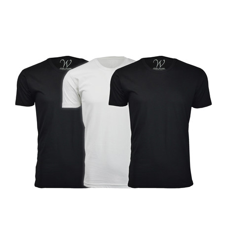 Ultra Soft Suede Crew-Neck // Black + Black + White // Pack of 3 (S)
