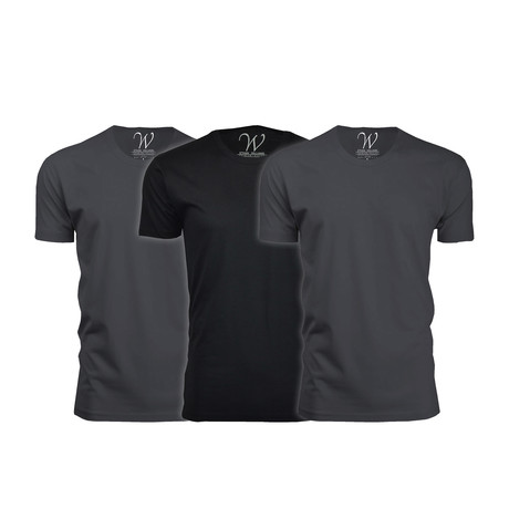 Ultra Soft Suede Crew-Neck // Heavy Metal + Heavy Metal + Black // Pack of 3 (S)