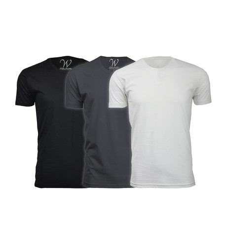 Ultra Soft Suede Crew-Neck // Black + Heavy Metal + White // Pack of 3 (S)