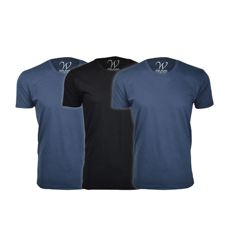 Ultra Soft Suede Crew-Neck // Navy + Black // Pack of 3 (S)