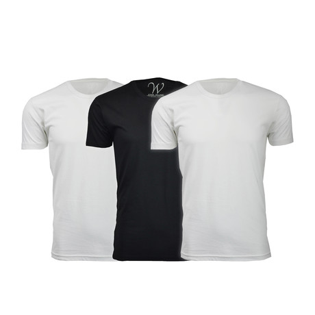 Ultra Soft Suede Crew-Neck // White + White + Black // Pack of 3 (S)