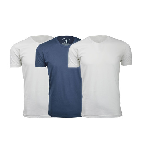 Ultra Soft Suede Crew-Neck // White + White + Navy // Pack of 3 (S)