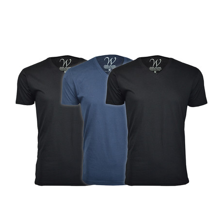 Ultra Soft Suede V-Neck // Black + Black + Navy // Pack of 3 (S)