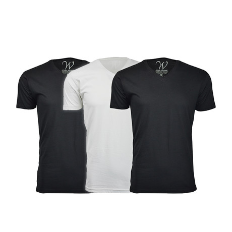Ultra Soft Suede V-Neck // Black + Black + White // Pack of 3 (S)