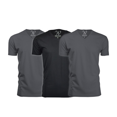 Ultra Soft Suede V-Neck // Heavy Metal + Heavy Metal + Black // Pack of 3 (S)