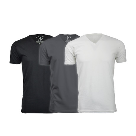 Ultra Soft Suede V-Neck // Black + Heavy Metal + White // Pack of 3 (S)