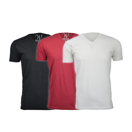 Ultra Soft Suede V-Neck // Black + Burgundy + White // Pack of 3 (S)