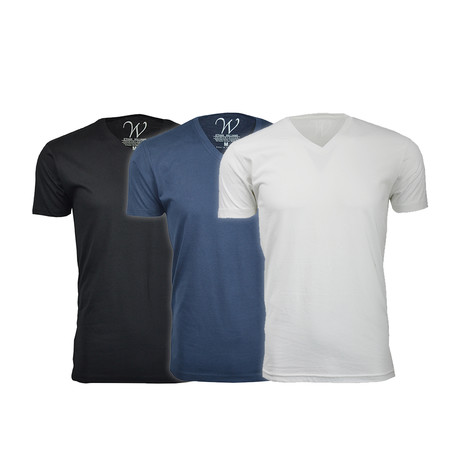 Ultra Soft Suede V-Neck // Black + Navy + White // Pack of 3 (S)