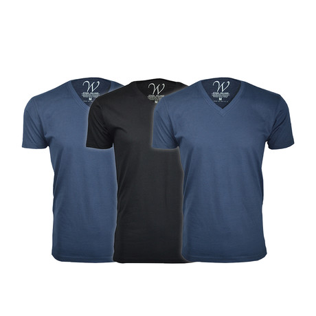 Ultra Soft Suede V-Neck // Navy + Navy + Black // Pack of 3 (S)