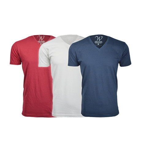 Ultra Soft Suede V-Neck // Red + White + Navy // Pack of 3 (S)