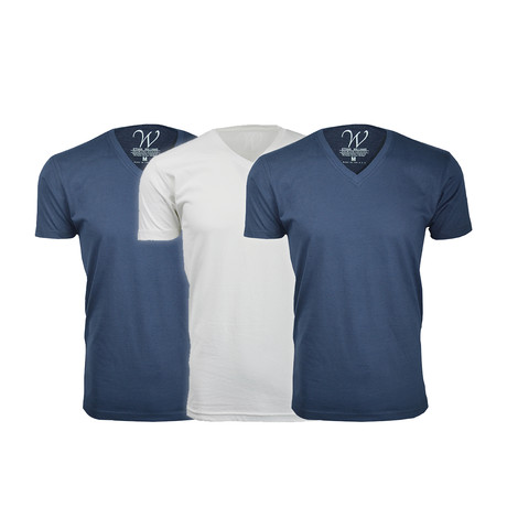 Ultra Soft Suede V-Neck // Navy + Navy + White // Pack of 3 (S)