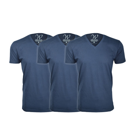 Ultra Soft Suede V-Neck // Navy + Navy + Navy // Pack of 3 (S)