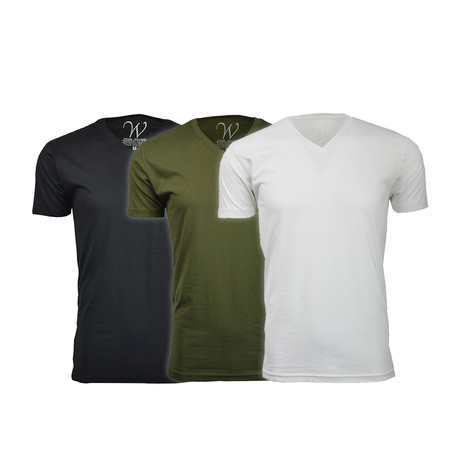 Ultra Soft Suede V-Neck // Black + Military Green + White // Pack of 3 (S)