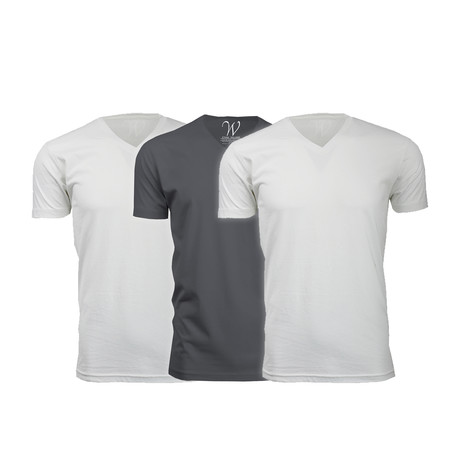 Ultra Soft Suede V-Neck // White + White + Heavy Metal // Pack of 3 (S)