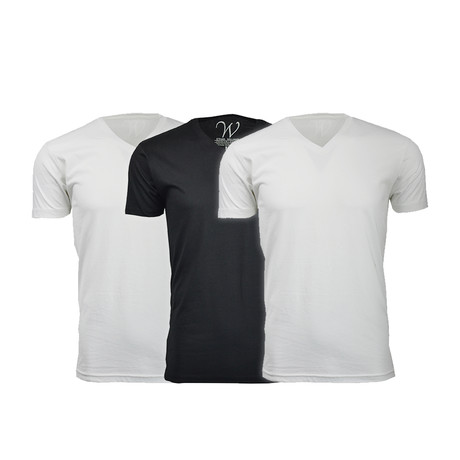 Ultra Soft Suede V-Neck // White + White + Black // Pack of 3 (S)