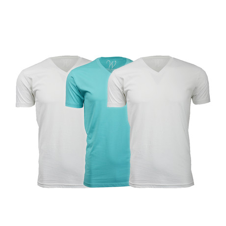 Ultra Soft Suede V-Neck // White + White + Turquoise // Pack of 3 (S)