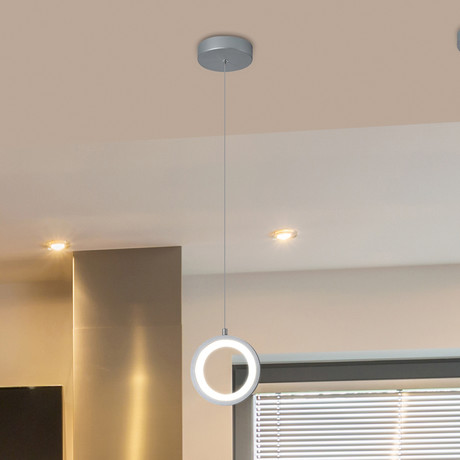 "Tania // 5"" Round LED Pendant (Silver)"
