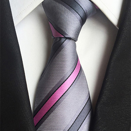 Newning Tie // Slate + Pink + Gray