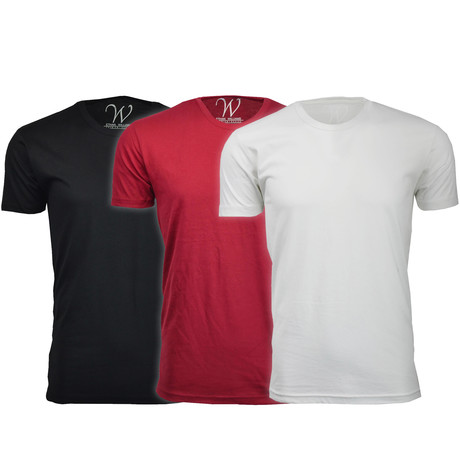 Ultra Soft Suede Crew-Neck // Black + Burgundy + White // Pack of 3 (S)