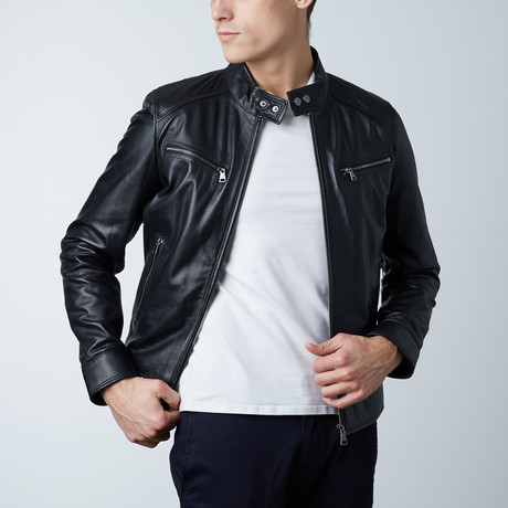 Hamilton Lamb Leather Biker Jacket // Black