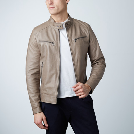 Hamilton Lamb Leather Biker Jacket // Gray (Euro: 44)