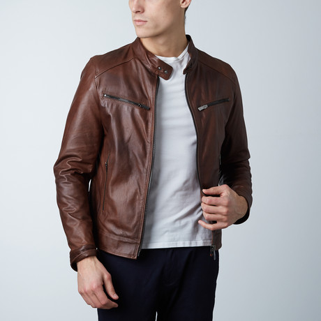 Hamilton Lamb Leather Biker Jacket // Brown (Euro: 44)
