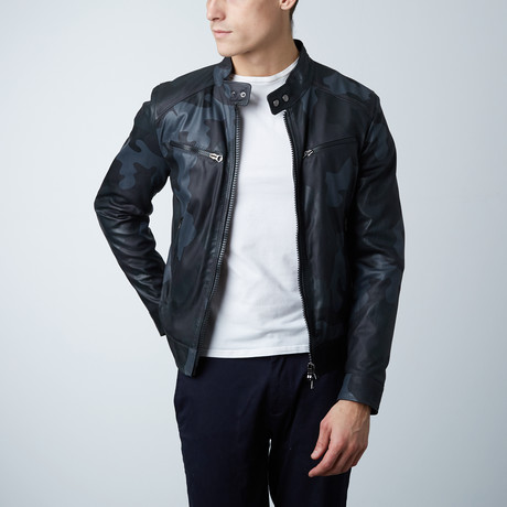 Hamilton Lamb Leather Biker Jacket // Camouflage Black (Euro: 46)