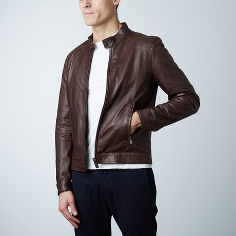 Ted Lamb Biker Jacket // Dark Brown (Euro: 44)