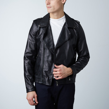 Clou Lamb Leather Biker Jacket // Black (Euro: 46)