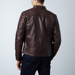 U411 Lamb Leather Quilted Jacket // Dark Brown (Euro: 46)