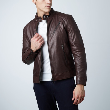 U411 Lamb Leather Quilted Jacket // Dark Brown (Euro: 44)