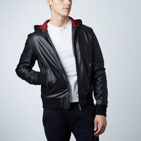 Biancolino Hooded Leather Jacket // Black (Euro: 44)