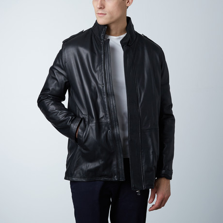Luca Lamb Leather Coat // Black (Euro: 46)