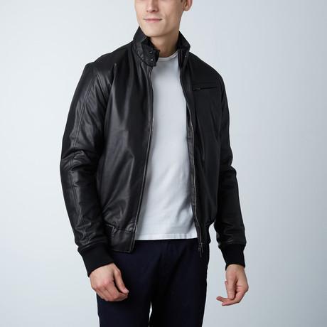 Thin Lamb Leather Bomber Jacket // Black