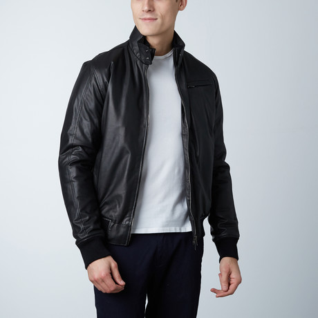 Thin Lamb Leather Bomber Jacket // Black (Euro: 46)