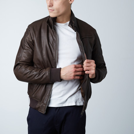 Thin Lamb Leather Bomber Jacket // Dark Brown (Euro: 46)