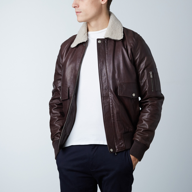 Aviator Lamb Leather Bomber Jacket // Dark Brown (Euro: 46) - AD ...